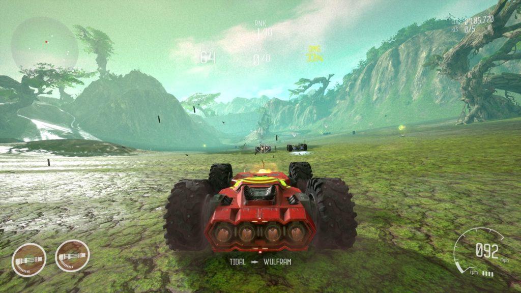 Uno screenshot di Grip per PS4 in un percorso a tema naturale. È un gioco di corse arcade.