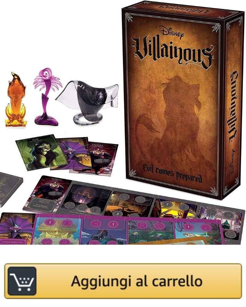 L'immagine mostra la scatola della seconda espansione di Disney Villainous Evil comes prepared con i componenti di gioco