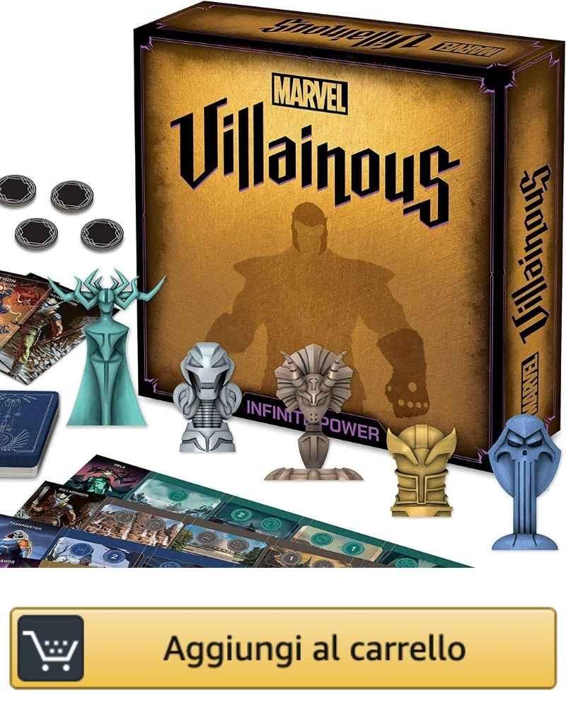 L'immagine mostra la scatola base di Marvel Villainous e i principali componenti di gioco