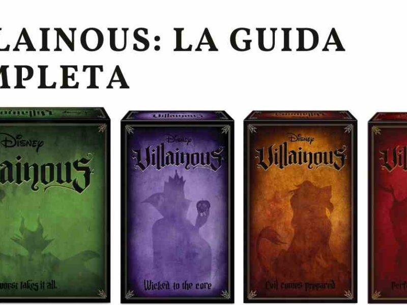 L'immagine mostra la scatola di Disney villainous e quelle delle tre espansioni uscite